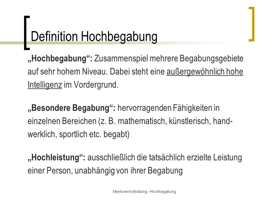 Definition Hochbegabung