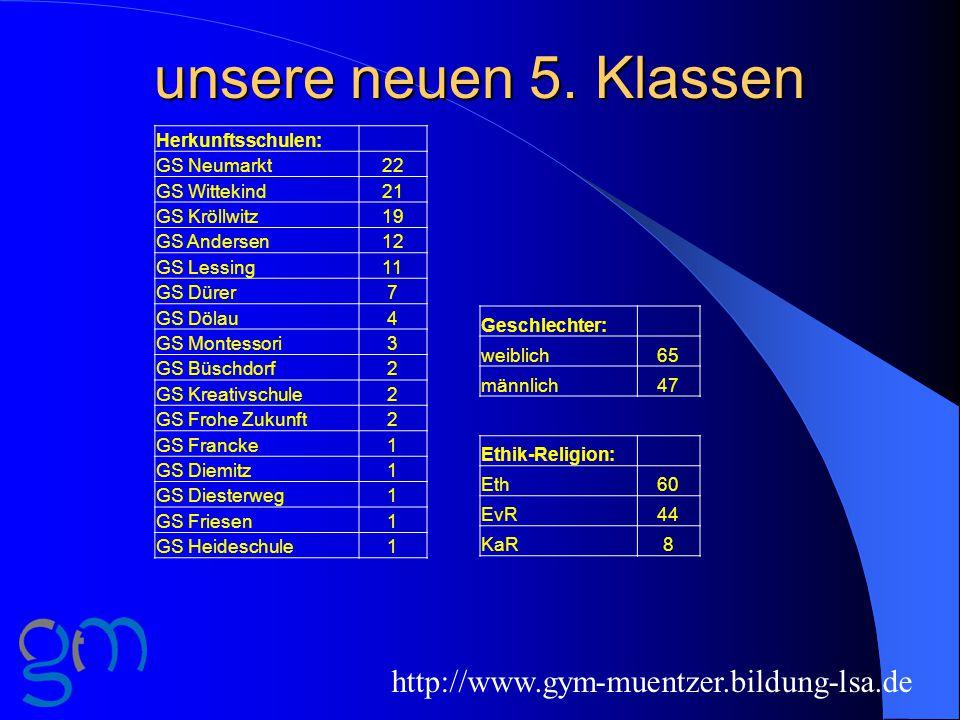 unsere neuen 5. Klassen http://www.gym-muentzer.bildung-lsa.de
