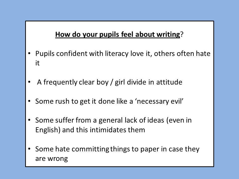 How do your pupils feel about writing