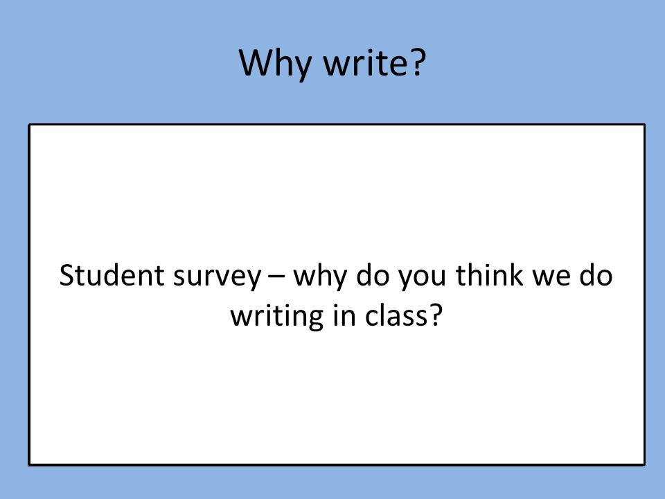 Student survey – why do you think we do writing in class