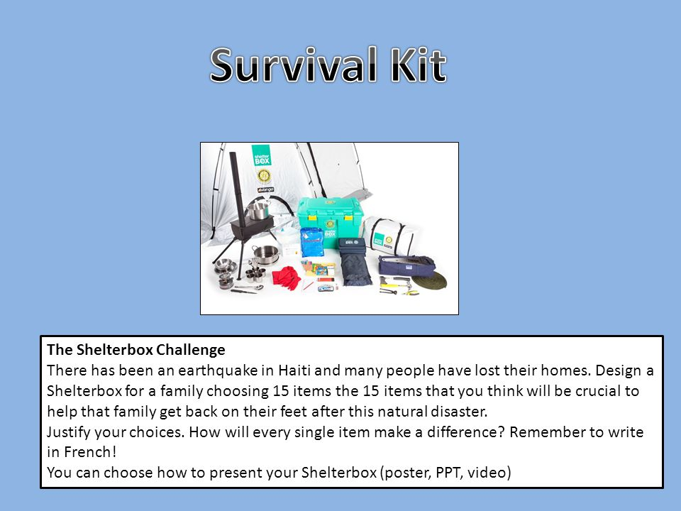 Survival Kit The Shelterbox Challenge