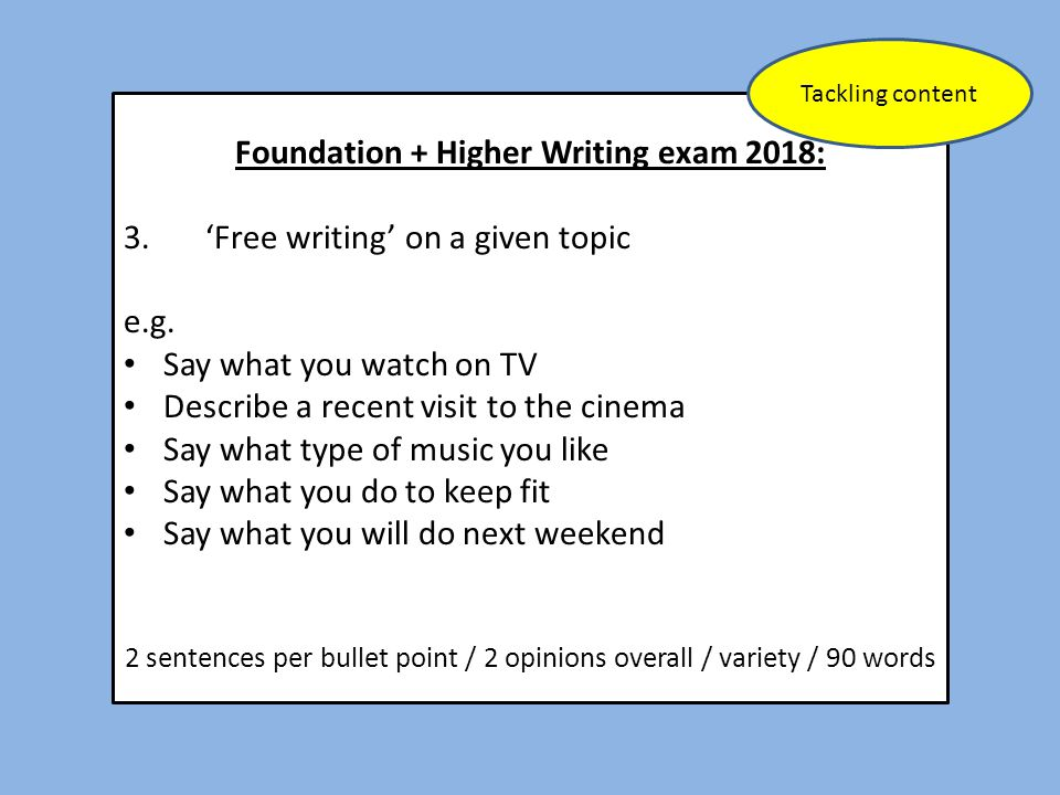 Foundation + Higher Writing exam 2018: