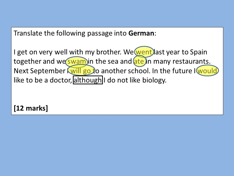 Translate the following passage into German: