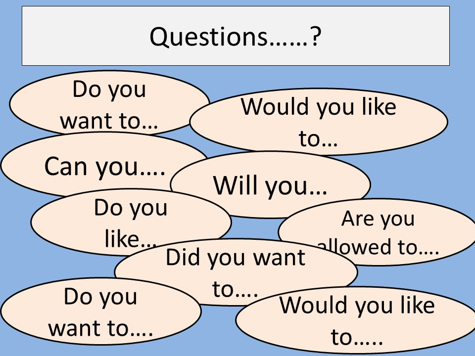 Questions…… Can you…. Will you… Do you want to… Would you like to…