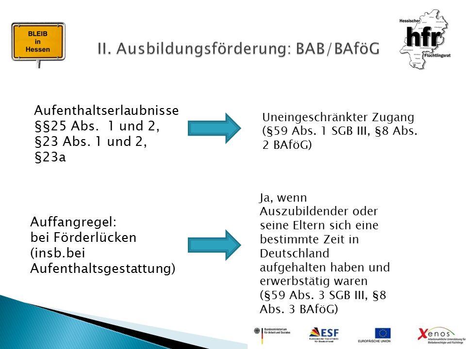 II. Ausbildungsförderung: BAB/BAföG