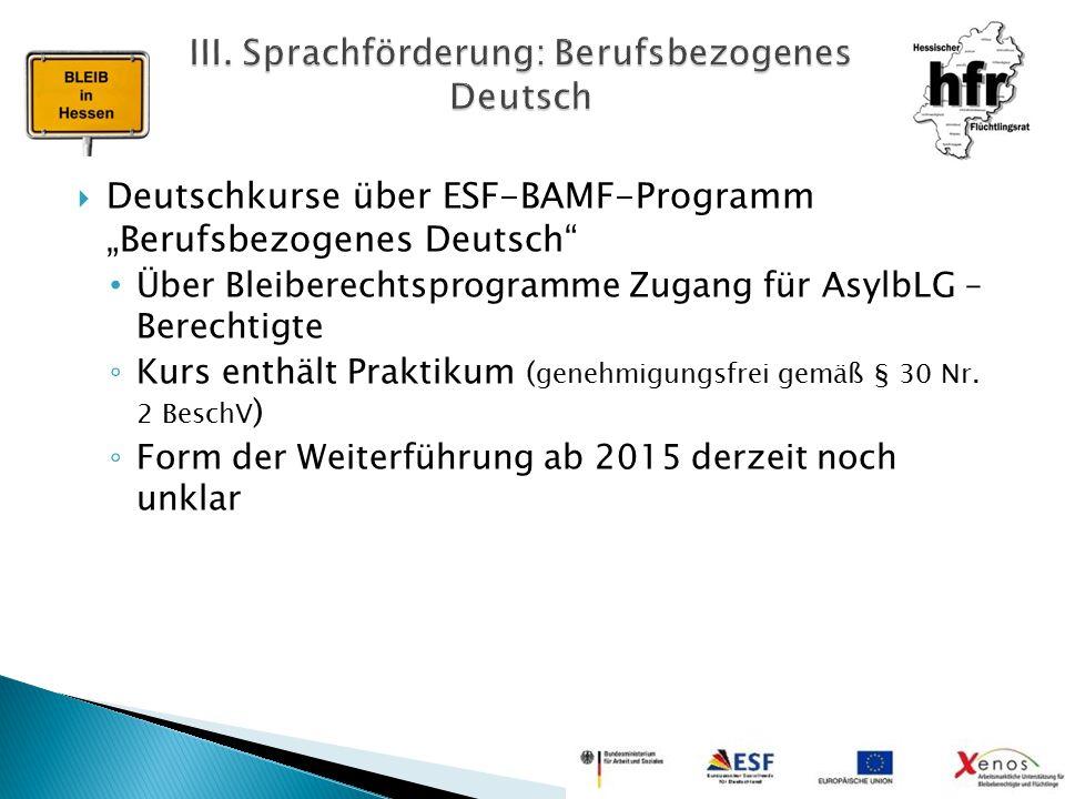 III. Sprachförderung: Berufsbezogenes Deutsch