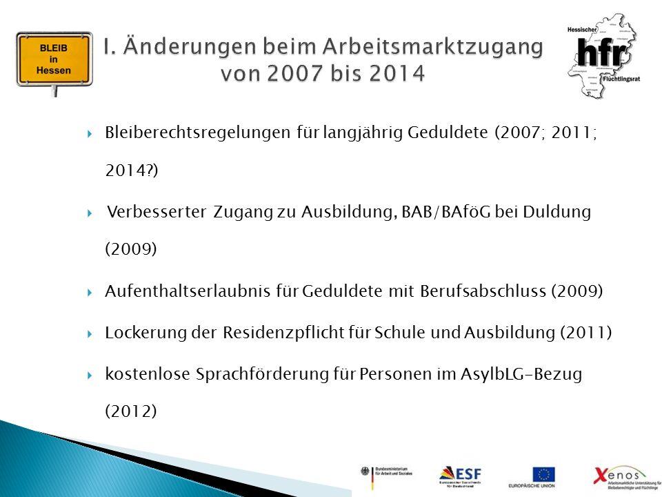I. Änderungen beim Arbeitsmarktzugang von 2007 bis 2014