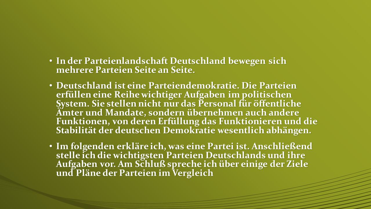 In der Parteienlandschaft Deutschland bewegen sich mehrere Parteien Seite an Seite.