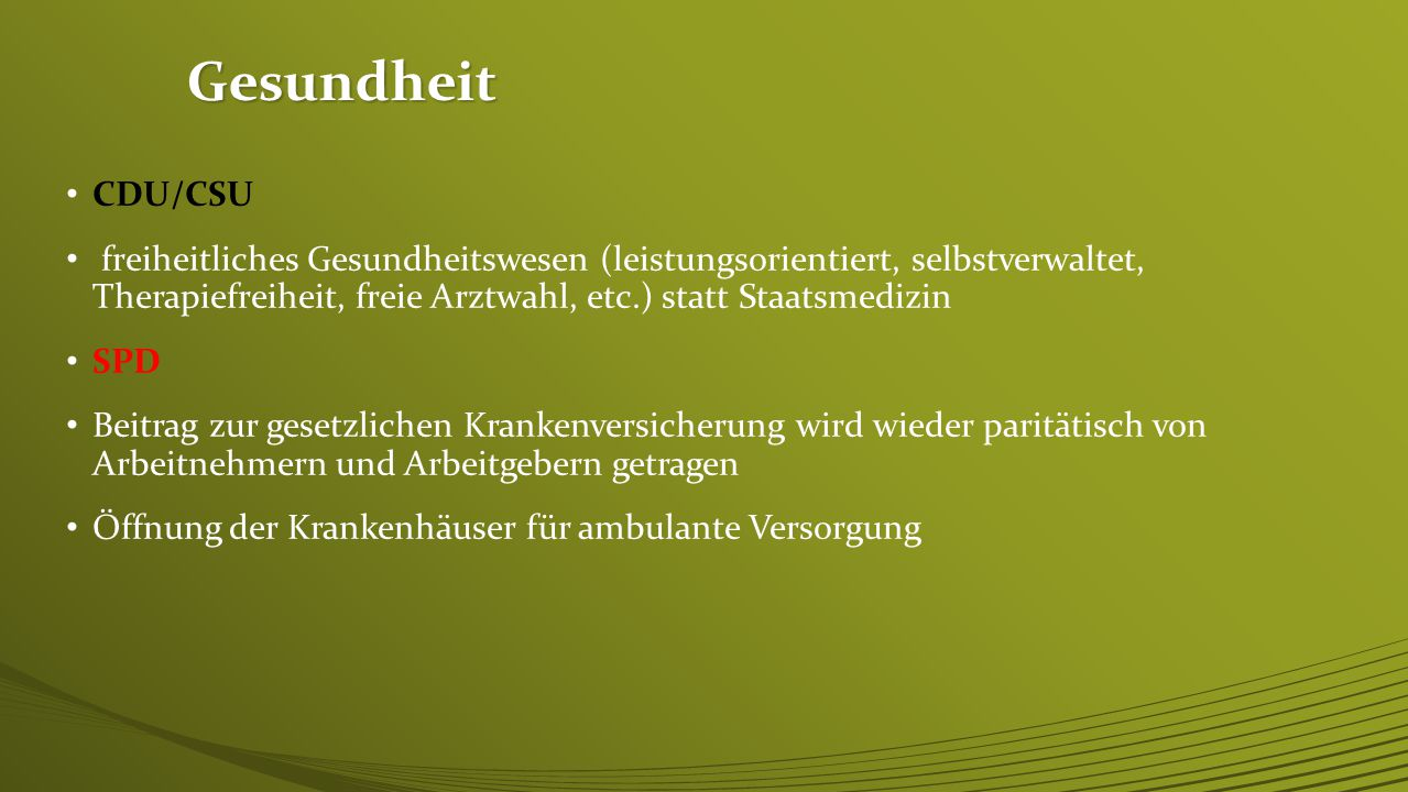 Gesundheit CDU/CSU.