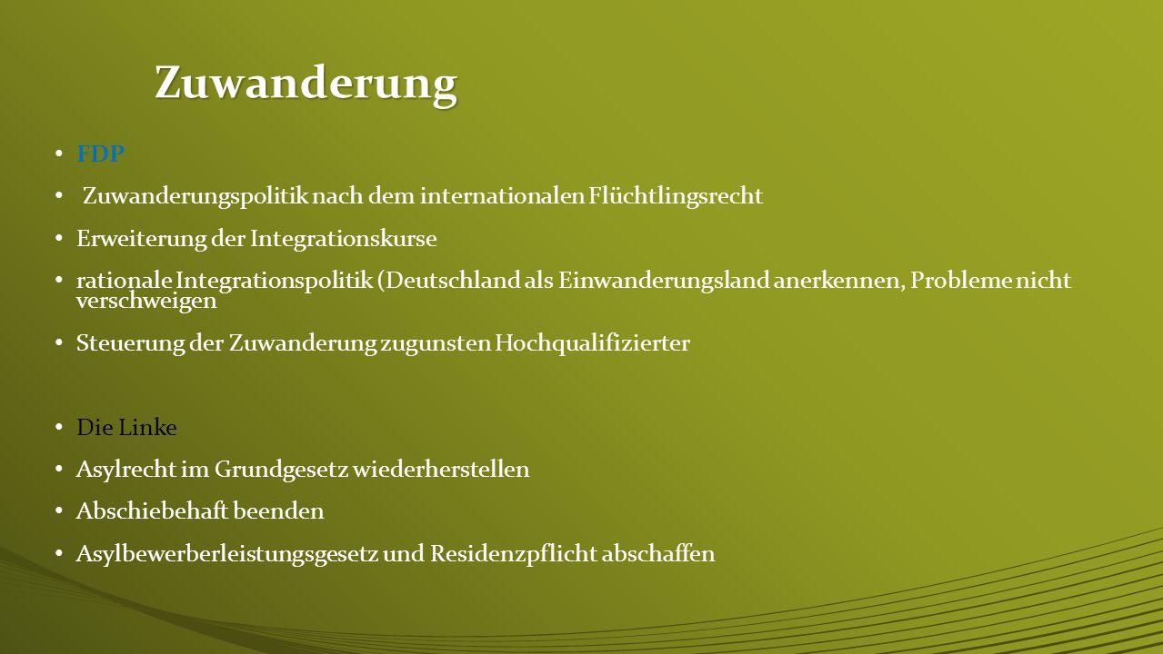 Zuwanderung FDP. Zuwanderungspolitik nach dem internationalen Flüchtlingsrecht. Erweiterung der Integrationskurse.