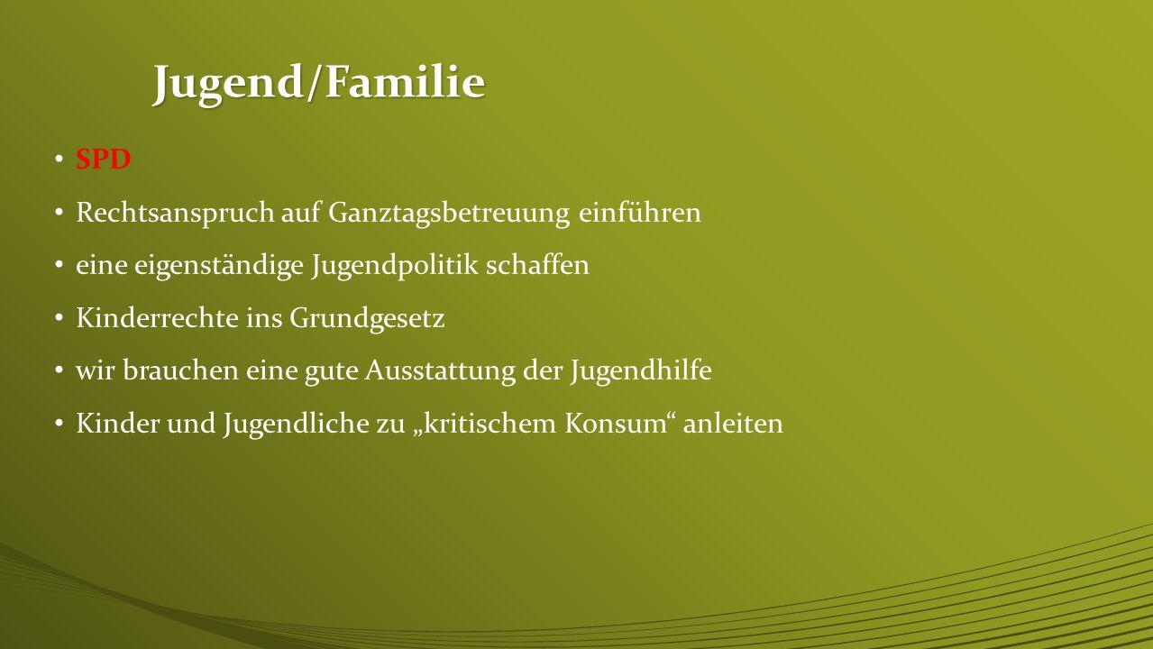 Jugend/Familie SPD Rechtsanspruch auf Ganztagsbetreuung einführen