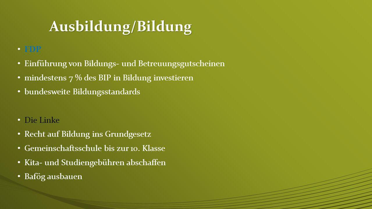Ausbildung/Bildung FDP