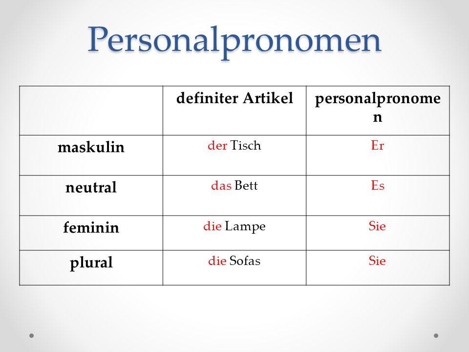 Personalpronomen definiter Artikel personalpronomen maskulin neutral