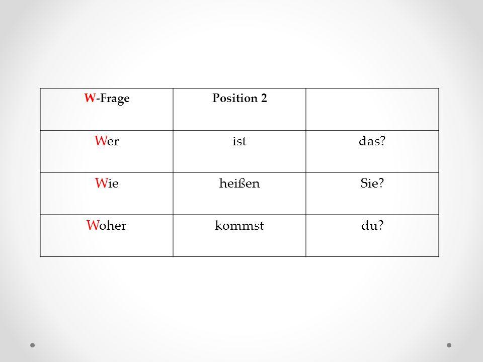 W-Frage Position 2 Wer ist das Wie heißen Sie Woher kommst du