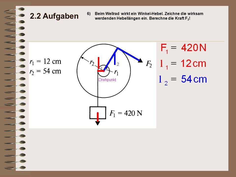 2.2 Aufgaben 6) Beim Wellrad wirkt ein Winkel-Hebel.