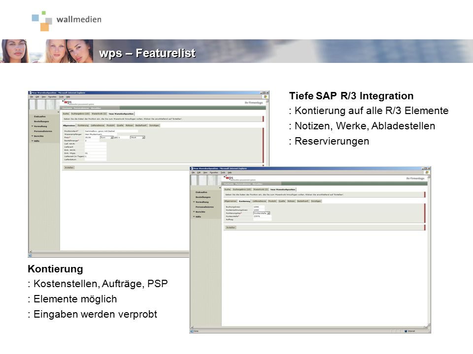 wps – Featurelist Tiefe SAP R/3 Integration
