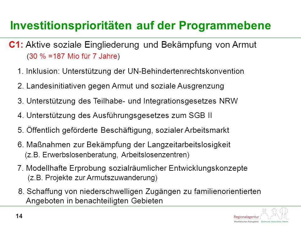 Investitionsprioritäten auf der Programmebene