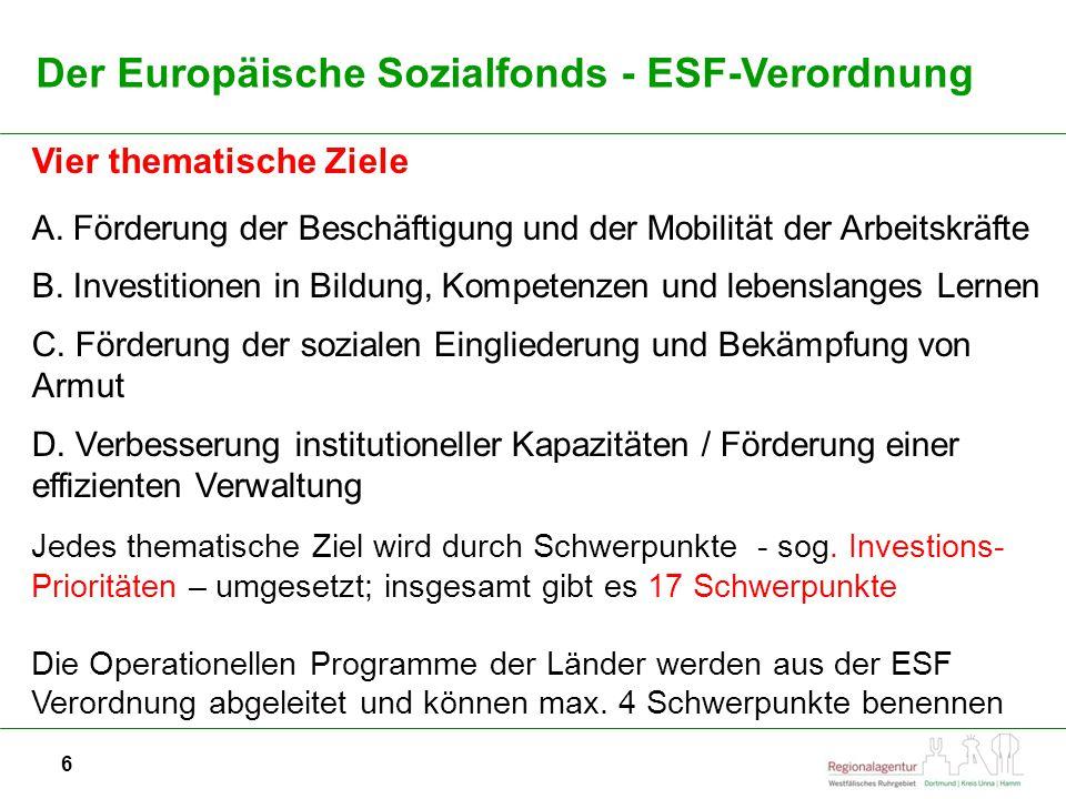Der Europäische Sozialfonds - ESF-Verordnung