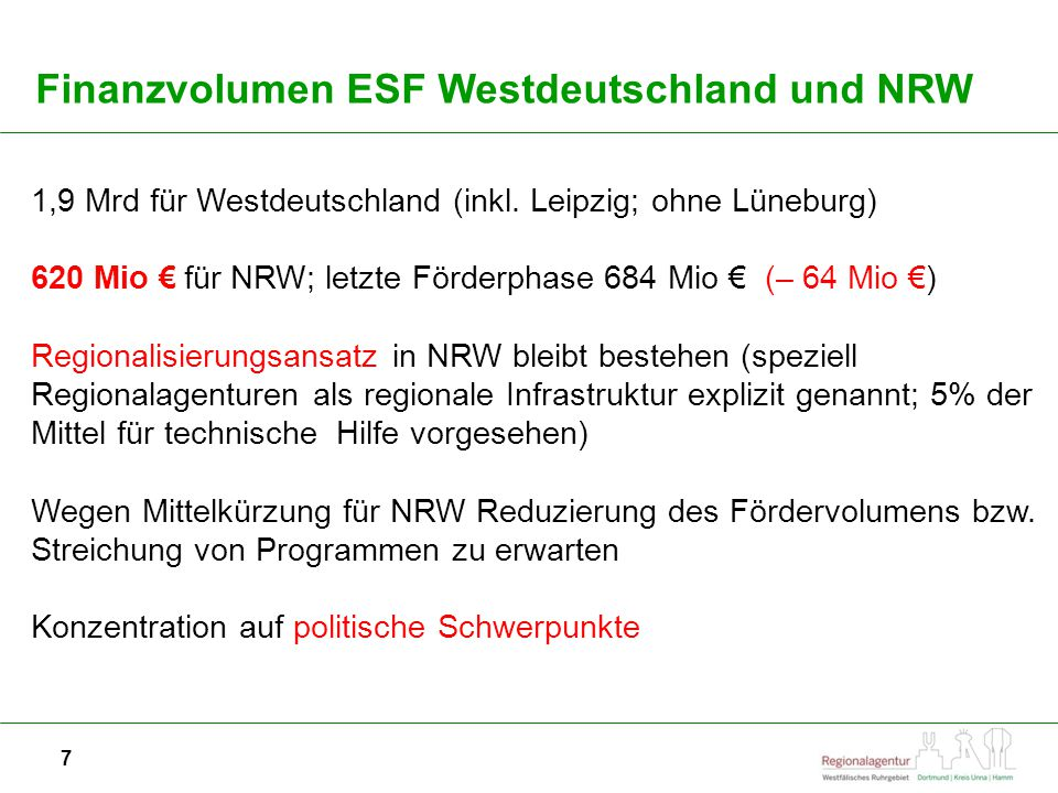 Finanzvolumen ESF Westdeutschland und NRW