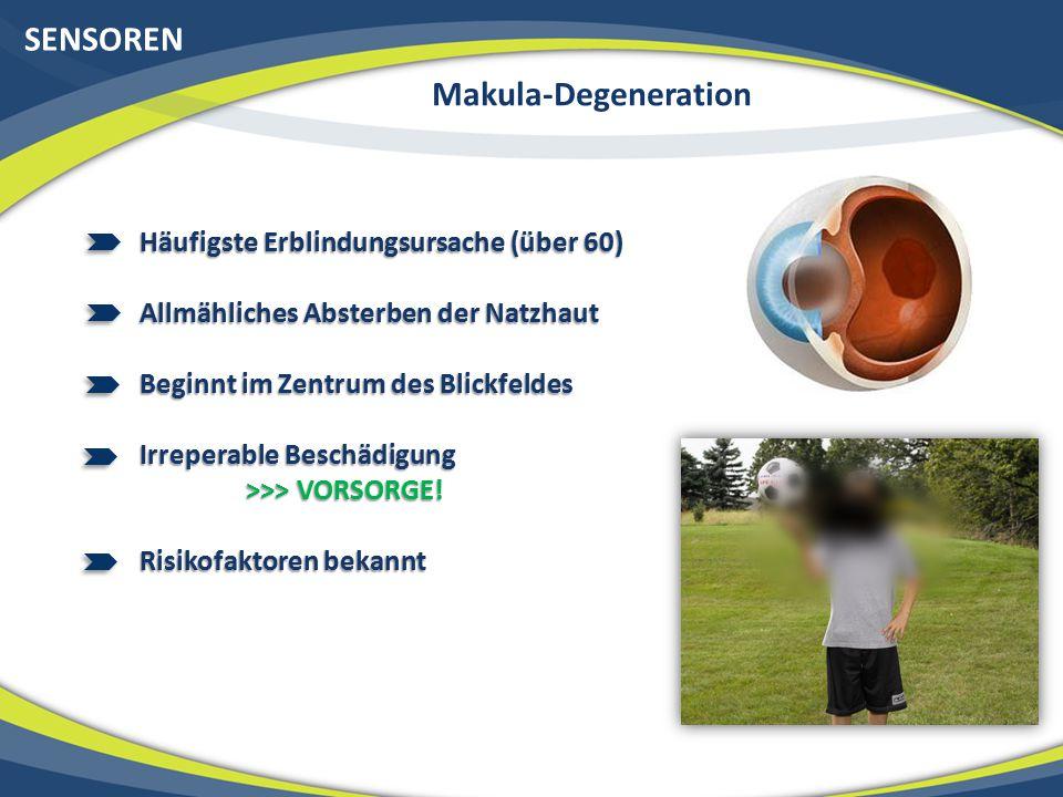 SENSOREN Makula-Degeneration Häufigste Erblindungsursache (über 60)