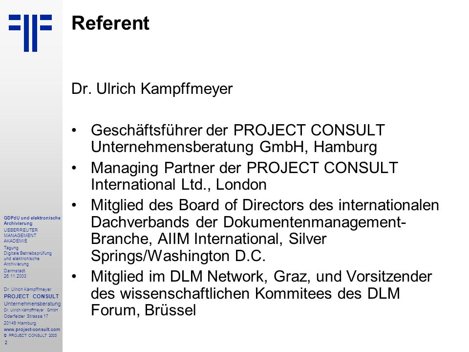 Referent Dr. Ulrich Kampffmeyer