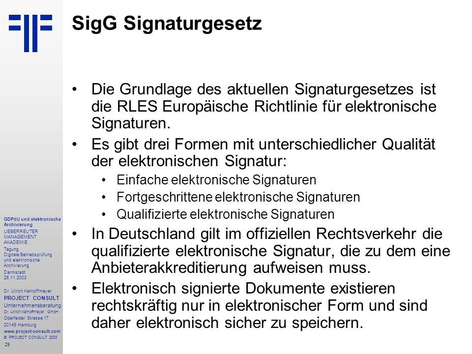 SigG Signaturgesetz Die Grundlage des aktuellen Signaturgesetzes ist die RLES Europäische Richtlinie für elektronische Signaturen.