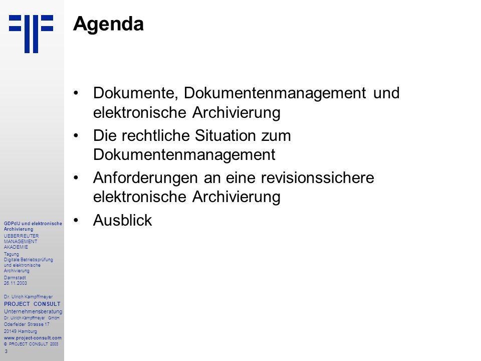Agenda Dokumente, Dokumentenmanagement und elektronische Archivierung