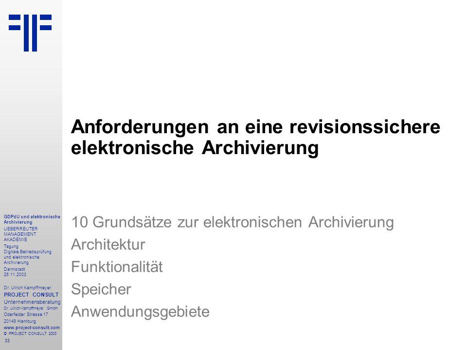 Anforderungen an eine revisionssichere elektronische Archivierung