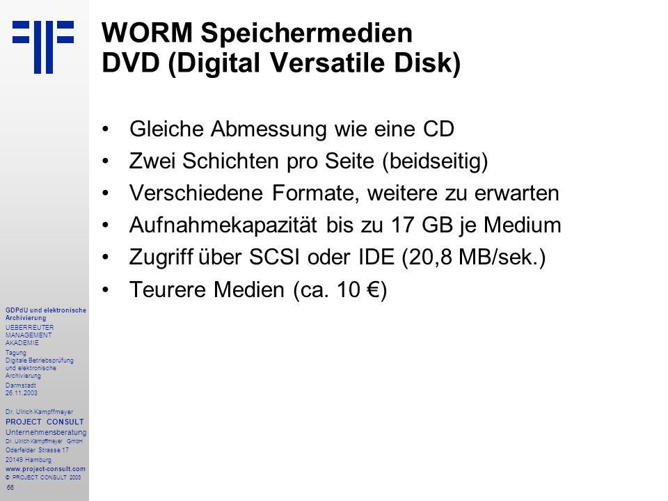 WORM Speichermedien DVD (Digital Versatile Disk)
