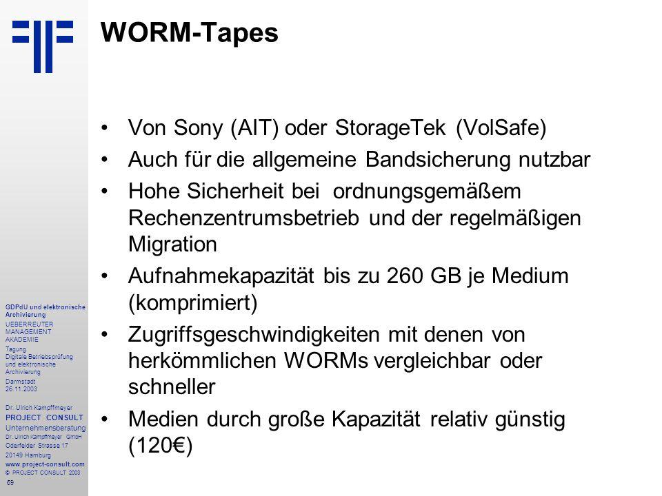 WORM-Tapes Von Sony (AIT) oder StorageTek (VolSafe)