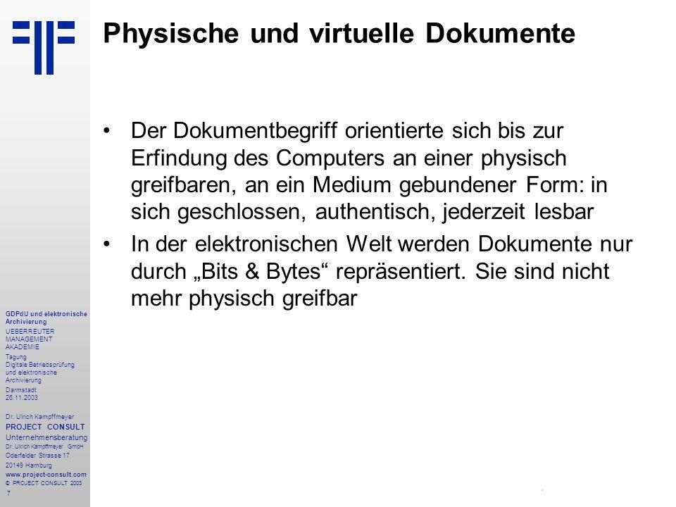 Physische und virtuelle Dokumente