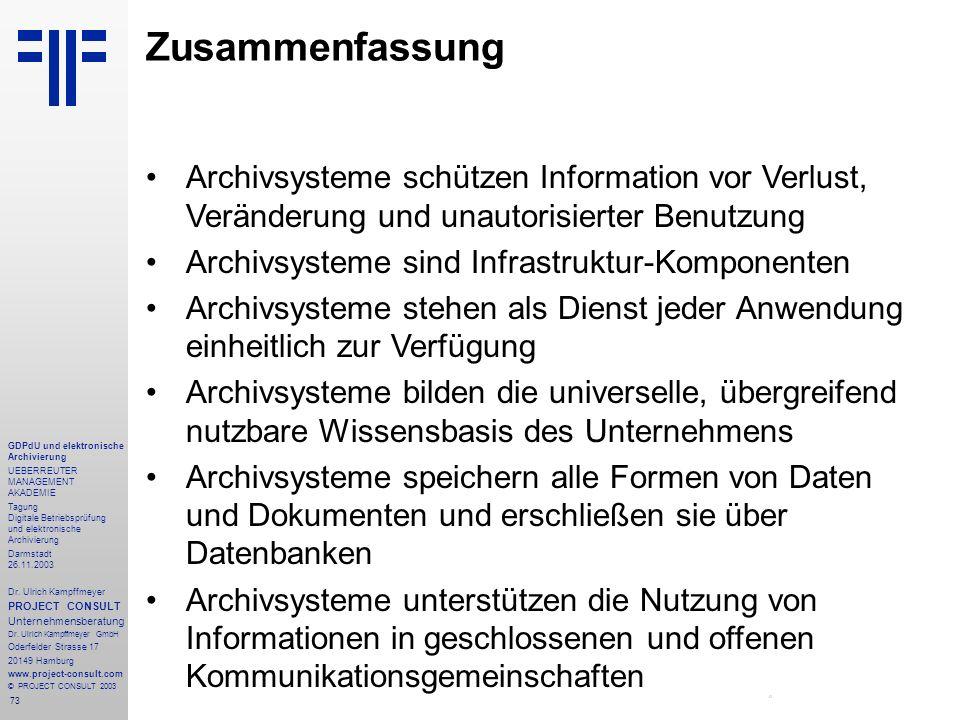 Zusammenfassung Archivsysteme schützen Information vor Verlust, Veränderung und unautorisierter Benutzung.