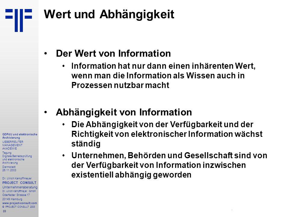 Wert und Abhängigkeit Der Wert von Information