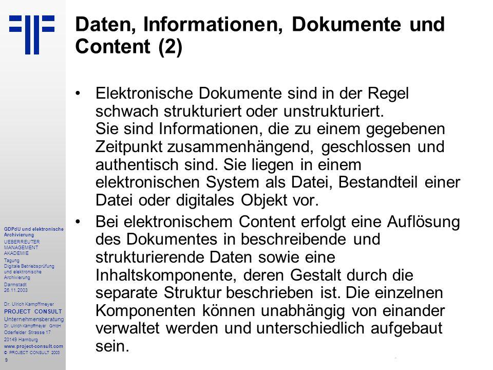 Daten, Informationen, Dokumente und Content (2)