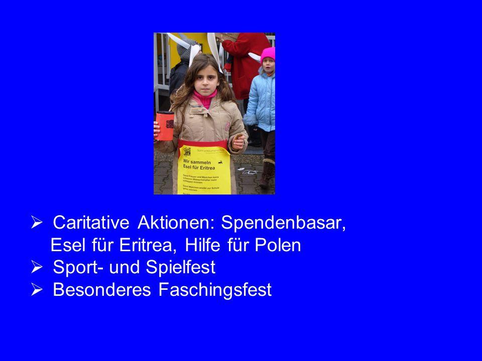 Caritative Aktionen: Spendenbasar,