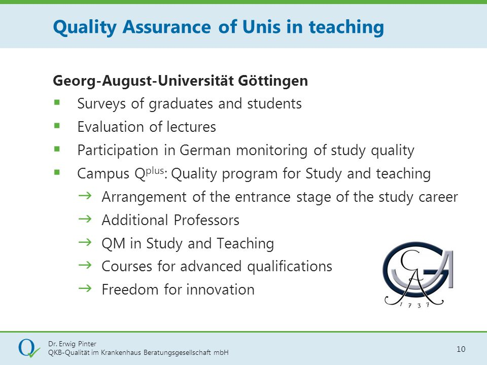 Quality Assurance of Unis in teaching