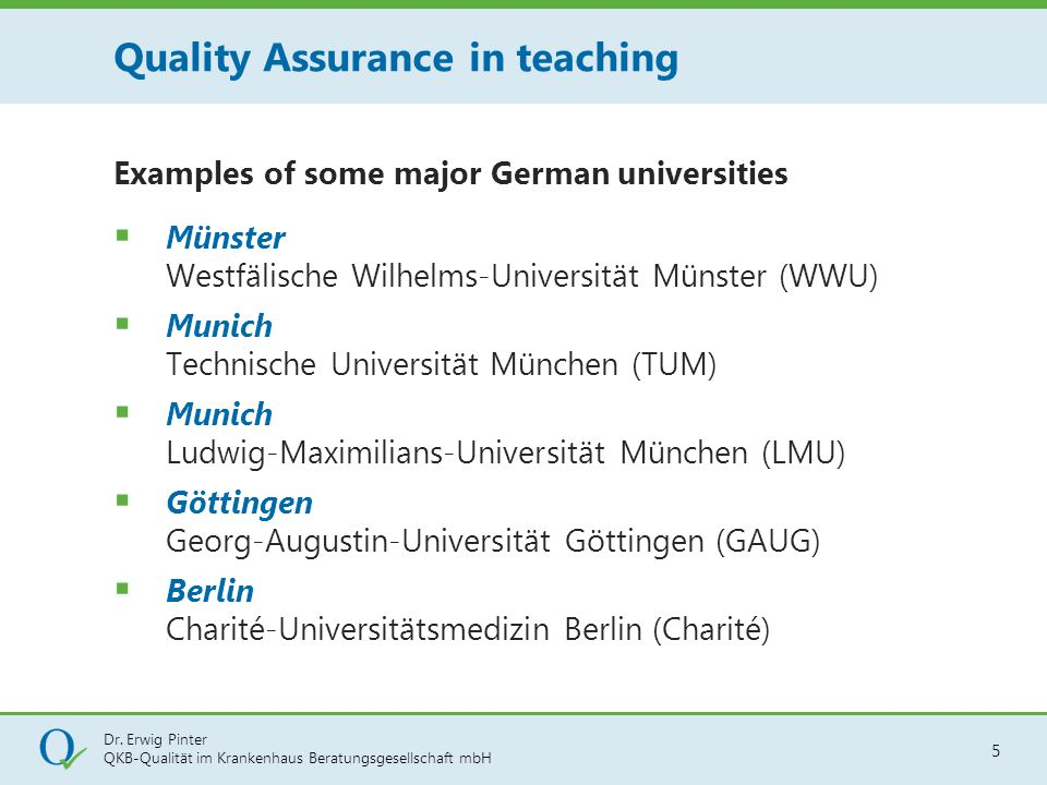 Quality Assurance in teaching