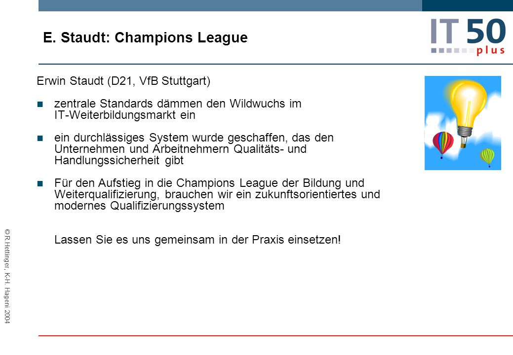 E. Staudt: Champions League