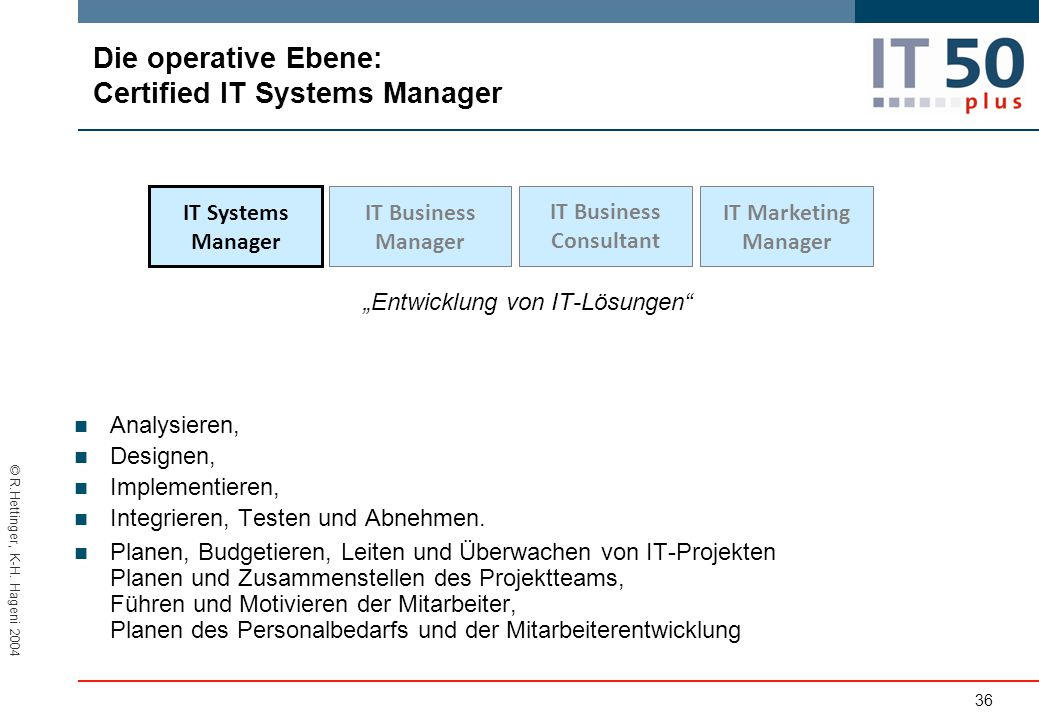 Die operative Ebene: Certified lT Systems Manager