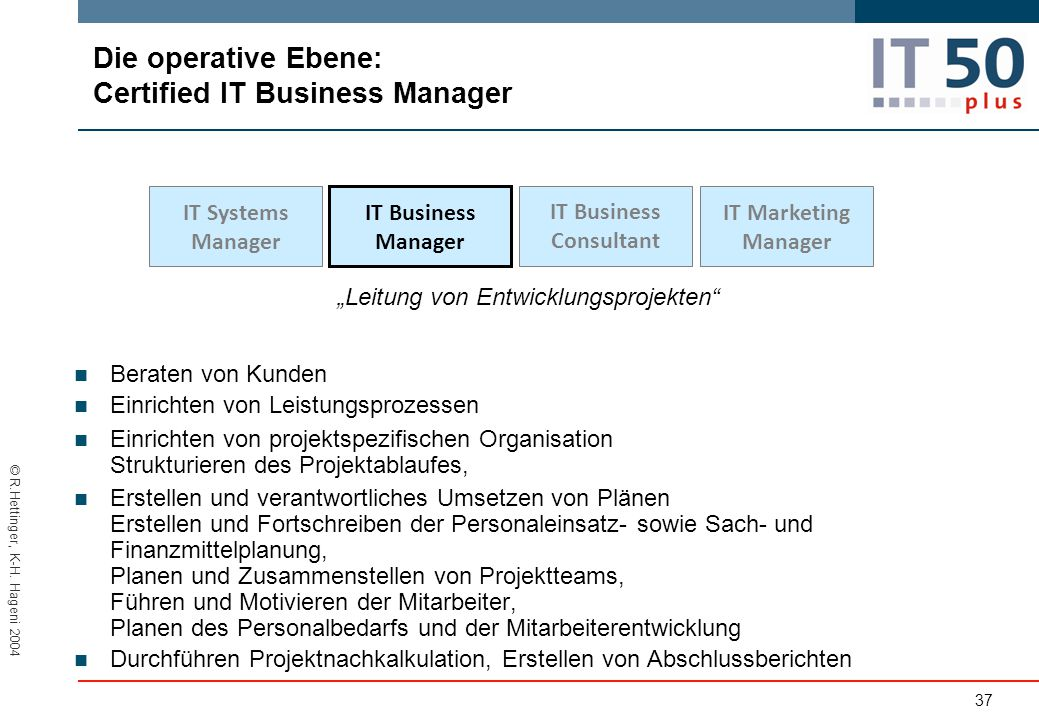 Die operative Ebene: Certified lT Business Manager