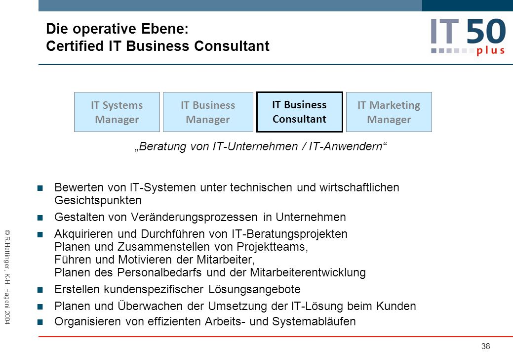 Die operative Ebene: Certified lT Business Consultant