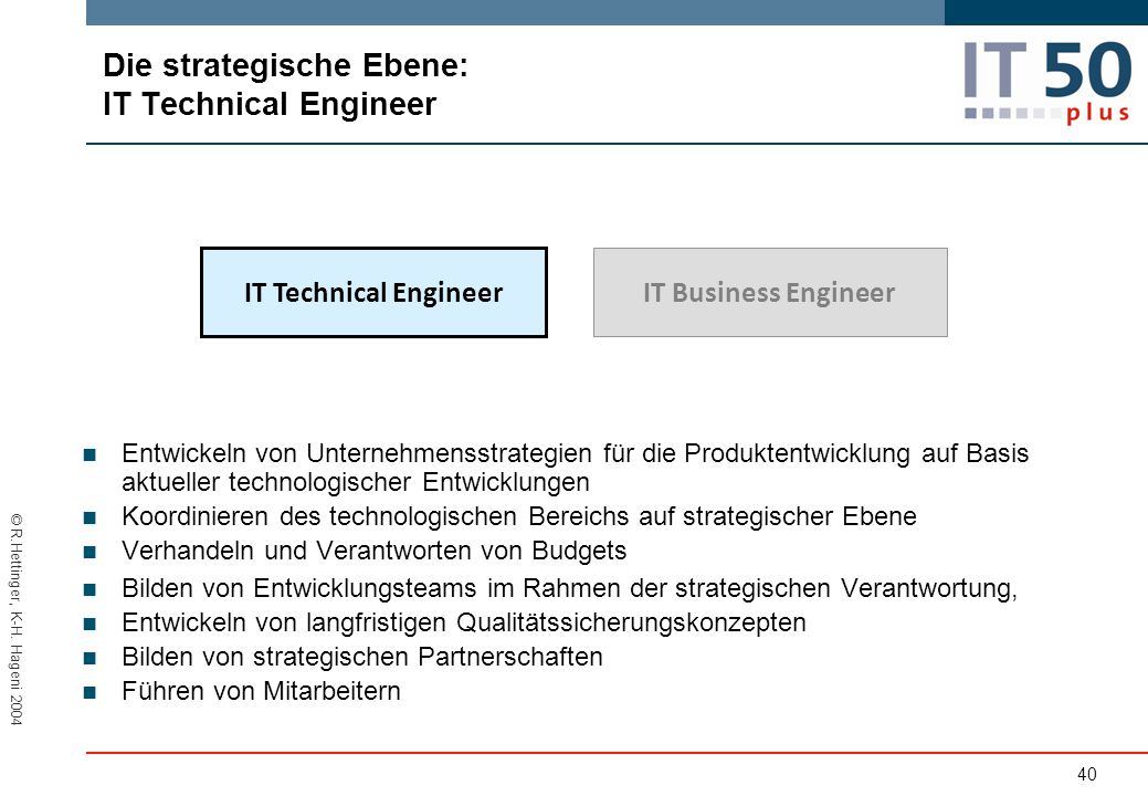 Die strategische Ebene: lT Technical Engineer