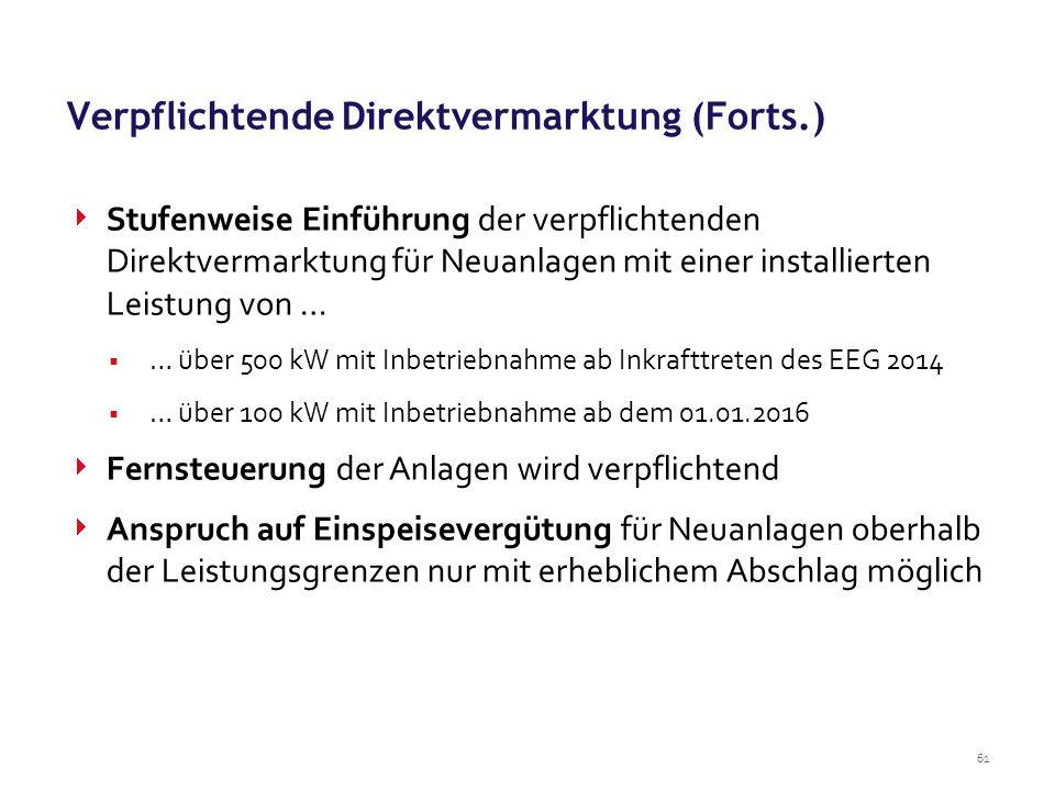 Verpflichtende Direktvermarktung (Forts.)