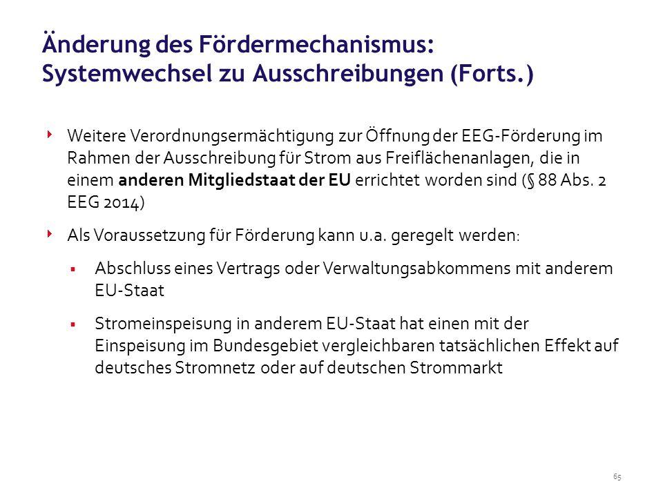 Änderung des Fördermechanismus: Systemwechsel zu Ausschreibungen (Forts.)