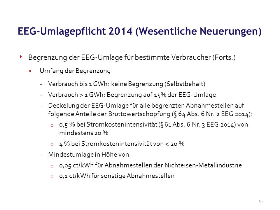 EEG-Umlagepflicht 2014 (Wesentliche Neuerungen)