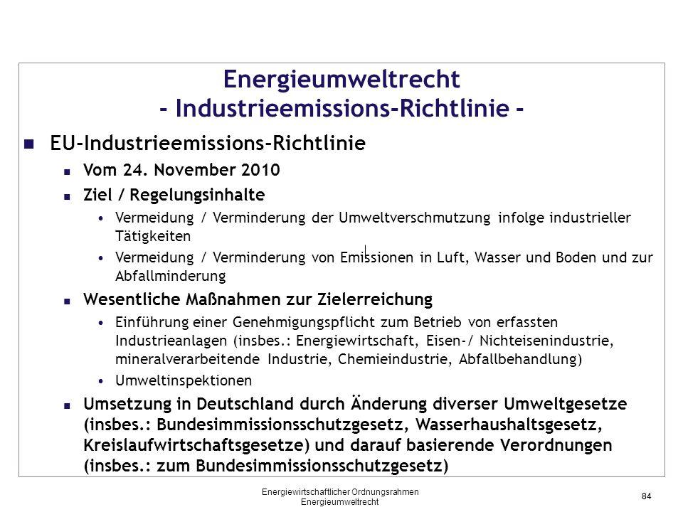 Energieumweltrecht - Industrieemissions-Richtlinie -