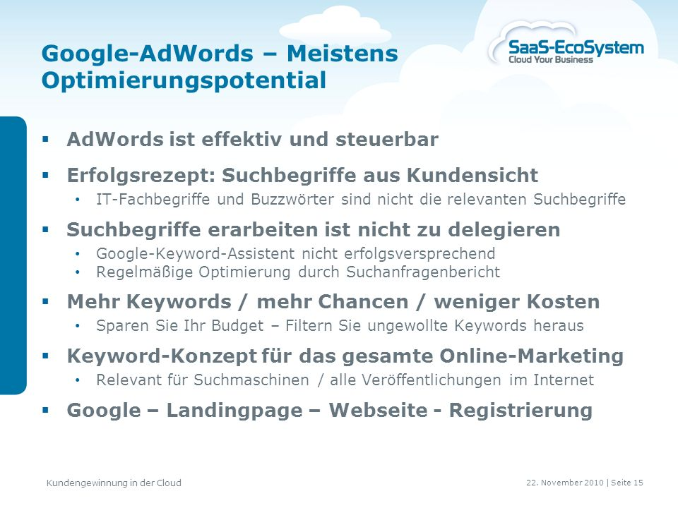 Google-AdWords – Meistens Optimierungspotential