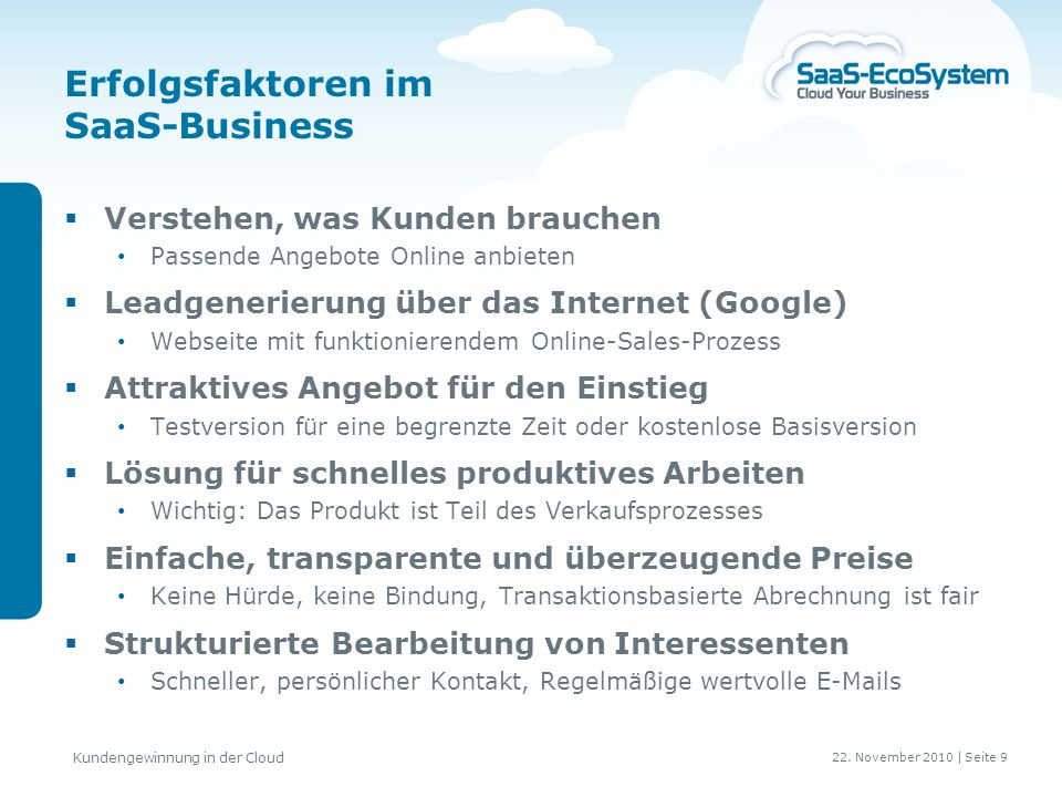 Erfolgsfaktoren im SaaS-Business