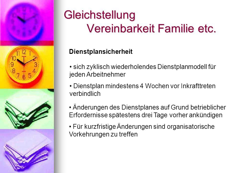 Gleichstellung Vereinbarkeit Familie etc.