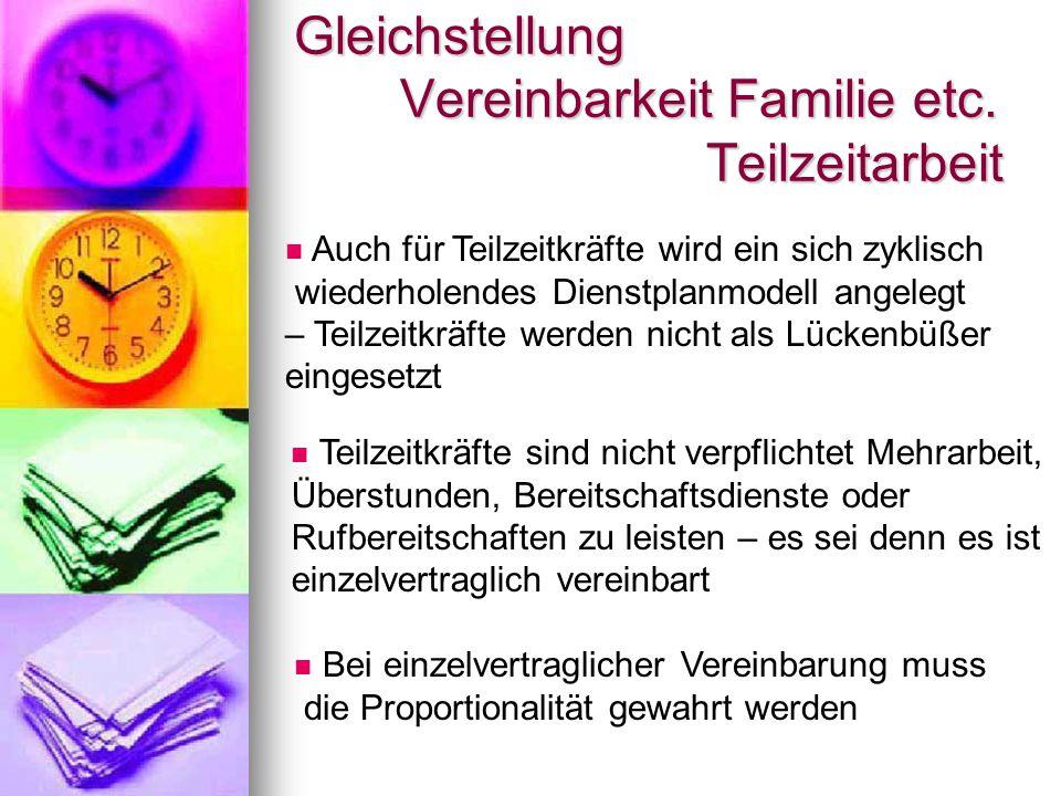 Gleichstellung Vereinbarkeit Familie etc. Teilzeitarbeit